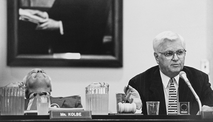 At a Census mark-up in the House Appropriations Sub-committee on Commerce, Rep. Jim Kolbe, R-Ariz., and Chairman Rep. Hal Rogers, R-Ky., on July 29, 1997. (Photo by Rebecca Roth/CQ Roll Call via Getty Images)