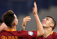 Calcio, Serie A: Roma vs Palermo. Roma, stadio Olimpico, 23 ottobre 2016.<br /> Roma&rsquo;s Leandro Paredes, right, celebrates with teammate Stephan El Shaarawy after scoring during the Italian Serie A football match between Roma and Palermo at Rome's Olympic stadium, 23 October 2016. Roma won 4-1.<br /> UPDATE IMAGES PRESS/Riccardo De Luca