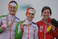SPEEDSKATING: SOCHI: Adler Arena, 22-03-2013, Essent ISU World Championship Single Distances, Day 2, podium 1500m Ladies, Lotte van Beek (NED), Ireen Wüst (NED), Christine Nesbitt (CAN), © Martin de Jong
