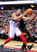JaVale McGee of the Wizards goes after the loose ball against Heat's Lebron James. Miami defeated Washington 106-89 at the Verizon Center in Washington, D.C. on Friday, February 10, 2012. Alan P. Santos/DC Sports Box