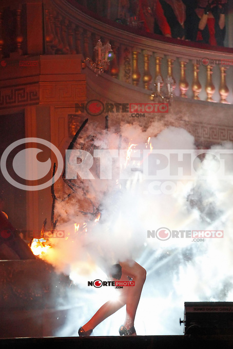 "Stunt women Miriam Hoeller on catwalk with burning Victoria's Secret wings at the ""20th Life Ball"" AIDS Charity Gala 2012 held at the Vienna City Hall. Vienna, Austria, 19th May 2012...Credit: Wendt/face to face /MediaPunch Inc. ***FOR USA ONLY**"