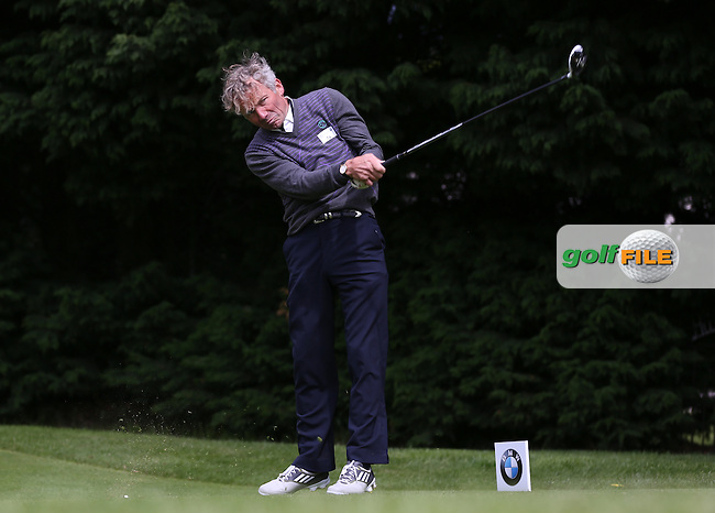 Jockey Johnny Francome drives the 18th during the Pro-Am ahead of the 2015 BMW PGA Championship over the West Course at Wentworth, Virginia Water, London. Picture David Lloyd, www.golffile.ie: 20/05/2015