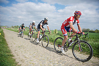 Thor Hushovd (NOR/BMC), Tom Boonen (BEL/OPQS), Bert De Backer (BEL/Giant-Shimano), Geraint Thomas (GBR/SKY) & 2 more try to stay ahead of the storming peloton behind them<br /> <br /> Paris-Roubaix 2014