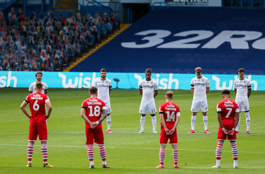 Players and officials observe a minute's silence for the late Jack Charlton<br /> <br /> Photographer Alex Dodd/CameraSport<br /> <br /> The EFL Sky Bet Championship - Leeds United v Barnsley - Thursday 16th July 2020 - Elland Road - Leeds<br /> <br /> World Copyright © 2020 CameraSport. All rights reserved. 43 Linden Ave. Countesthorpe. Leicester. England. LE8 5PG - Tel: +44 (0) 116 277 4147 - admin@camerasport.com - www.camerasport.com