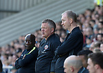 Chris Wilder manager of Sheffield Utd and assistant Alan Knill during the English League One match at Sixfields Stadium Stadium, Northampton. Picture date: April 8th 2017. Pic credit should read: Simon Bellis/Sportimage