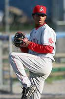 September 9 2008:  Pitcher Charlie Rosario of the Lowell Spinners, Class-A affiliate of the Boston Red Sox, during a game at Dwyer Stadium in Batavia, NY.  Photo by:  Mike Janes/Four Seam Images