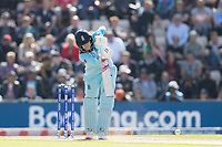 Joe Root (England) dries straight down the ground during England vs West Indies, ICC World Cup Cricket at the Hampshire Bowl on 14th June 2019