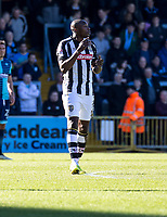 Goal scorer Shola Ameobi of Notts County during the Sky Bet League 2 match between Wycombe Wanderers and Notts County at Adams Park, High Wycombe, England on the 25th March 2017. Photo by Liam McAvoy.