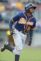 Montgomery Biscuits Tim Beckham #22 runs to first during a game against  the Tennessee Smokies at Smokies Park in Kodak,  Tennessee;  April 13, 2011.  Tennessee defeated Montgomery 12-2.  Photo By Tony Farlow/Four Seam Images