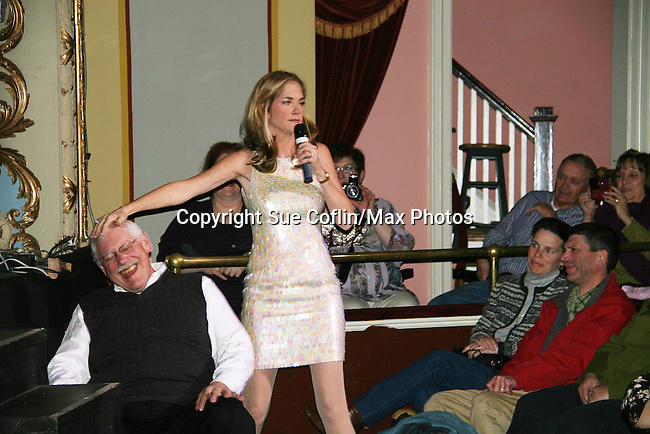 Kassie DePaiva sings to a gentleman - The Divas of Daytime TV performed a Christmas Show on December 5, 2009 at the Broadway Theatre in Pitman, New Jersey. (Photos by Sue Coflin/Max Photos)