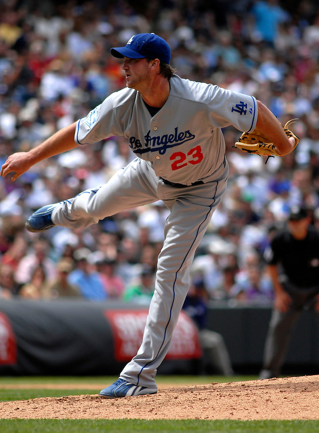 04 May 2008: Los Angeles Dodgers starting pitcher Derek Lowe works against the Colorado Rockies on May 4, 2008 at Coors Field in Denver, Colorado. The Rockies defeated the Dodgers 7-2.