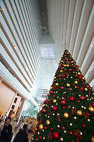 Singapore. Marina Bay Sands Hotel. the atrium lobby. Christmas tree.