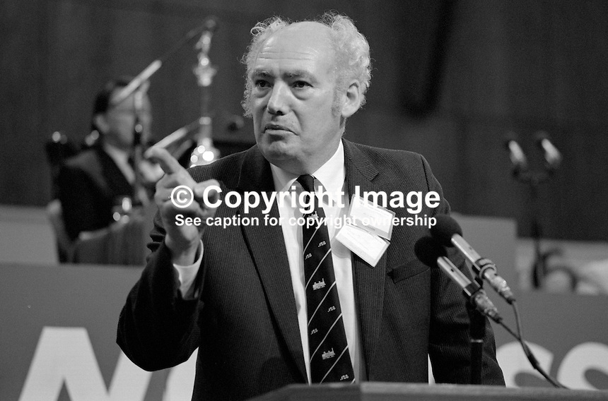 Jimmy Knapp, general secretary, National Union of Railwaymen, NUR, trade union, UK, addresses Trades Union Congress annual conference 1984. 19840103JK1.<br /> <br /> Copyright Image from Victor Patterson, 54 Dorchester Park, Belfast, UK, BT9 6RJ<br /> <br /> t1: +44 28 9066 1296<br /> t2: +44 28 9002 2446<br /> m: +44 7802 353836<br /> <br /> e1: victorpatterson@me.com<br /> e2: victorpatterson@gmail.com<br /> <br /> www.victorpatterson.com<br /> <br /> IMPORTANT: Please see my Terms and Conditions of Use at www.victorpatterson.com