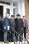 (Second from left) Mikhail Gorbachev, the last premier of the Soviet Union, arrives with his translator, Pavel Palazchenko (left), at Eureka College, the alma matter of President Reagan, in Eureka, Illinois on March 27, 2009.  Gorbachev is at Eureka College to receive an honorary doctorate from the college, calling Reagan a partner whom he trusted.