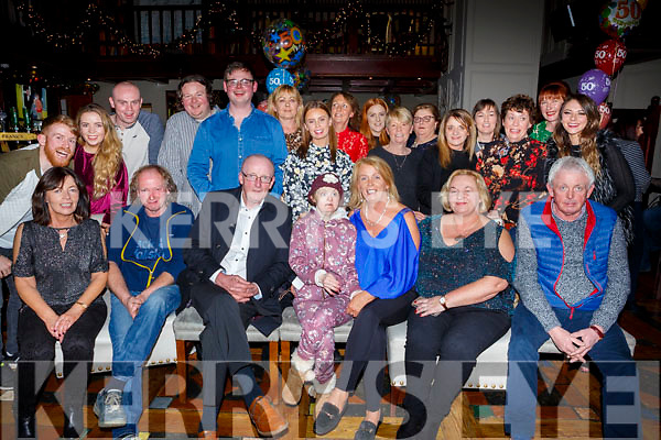Maura Carmody seated front centre celebrates her big 50 with her family and friends at the Meadowlands Hotel on Friday night last.