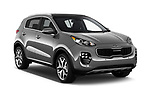 2017 KIA sportage sx 5 Door SUV angular front stock photos of front three quarter view