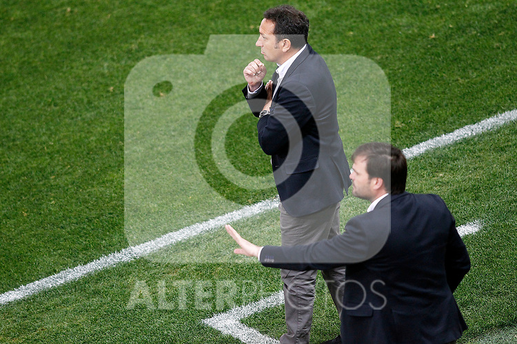 Real Sociedad's coach Eusebio Sacristan (l) and his second Juan Carlos Andres during La Liga match. April 4,2017. (ALTERPHOTOS/Acero)