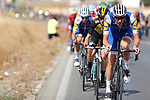 The peloton led by Quick-Step Floors in action during Stage 13 of the 2017 La Vuelta, running 198.4km from Coin to Tomares, Seville, Spain. 1st September 2017.<br />