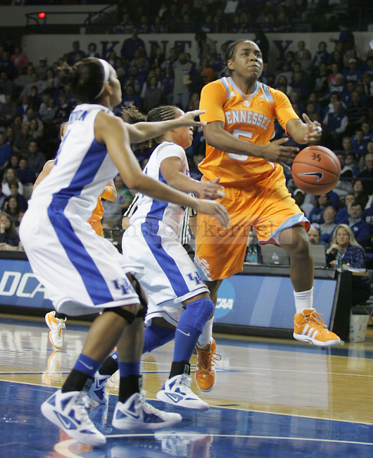 Ariel Massengale of the University of Tennessee lost control of the ball in Memorial Coliseum, on Thursday, Jan. 12, 2012. Photo by Latara Appleby | Staff ..