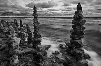 Rock Cairns are piled high and thickly along the Lake Michigan shore, Whitefish Dunes State Park, Door County, Wisconsin