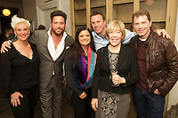 New York, NY - December 16, 2015: Celebrity chefs Anne Burrell, Scott Conant, Alex Guarnaschelli, Marc Murphy and Bobby Flay pose with retiring Food Network president, Brooke Johnson.<br /> <br /> CREDIT: Clay Williams.<br /> <br /> &copy; Clay Williams / claywilliamsphoto.com