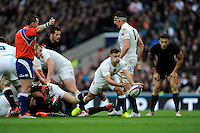Danny Care of England passes during the QBE International match between England and New Zealand at Twickenham Stadium on Saturday 8th November 2014 (Photo by Rob Munro)
