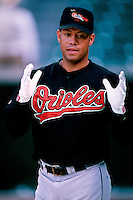 Roberto Alomar of the Baltimore Orioles plays in a baseball game at Edison International Field during the 1998 season in Anaheim, California. (Larry Goren/Four Seam Images)