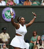 Serena Williams (USA) during her match against Barbora Strycova (CZE) in their Ladies' Singles Semi-Final match<br /> <br /> Photographer Rob Newell/CameraSport<br /> <br /> Wimbledon Lawn Tennis Championships - Day 10 - Thursday 11th July 2019 -  All England Lawn Tennis and Croquet Club - Wimbledon - London - England<br /> <br /> World Copyright © 2019 CameraSport. All rights reserved. 43 Linden Ave. Countesthorpe. Leicester. England. LE8 5PG - Tel: +44 (0) 116 277 4147 - admin@camerasport.com - www.camerasport.com