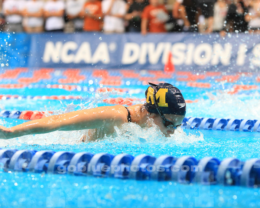 Amanda Lohman and Caitlin Dauw of the University of Michigan women's swimming and diving team (27th of 44 teams) at the 2012 NCAA Championships at the James E. Martin Aquatics Center in Auburn, Ala., on March 16, 2012.