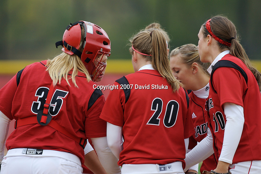MADISON, WI - OCTOBER 13: The Wisconsin Badgers softball team during the Red/White scrimmage at the Goodman Softball Complex on October 13, 2007 in Madison, Wisconsin. (Photo by David Stluka).