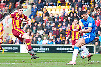 Shay McCartan of Bradford City shoots during the Sky Bet League 1 match between Bradford City and Gillingham at the Northern Commercial Stadium, Bradford, England on 24 March 2018. Photo by Thomas Gadd.