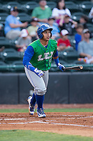 Xavier Fernandez (34) of the Lexington Legends starts down the first base line against the Hickory Crawdads at L.P. Frans Stadium on April 29, 2016 in Hickory, North Carolina.  The Crawdads defeated the Legends 6-2.  (Brian Westerholt/Four Seam Images)
