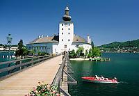 Austria, Upper Austria, Salzkammergut, Gmunden at Traun Lake: Lake Castle Orth | Oesterreich, Oberoesterreich, Salzkammergut, Gmunden am Traunsee: Holzbruecke zum Seeschloss Orth