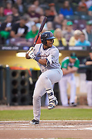 Moises Gomez (21) of the Bowling Green Hot Rods at bat against the Dayton Dragons at Fifth Third Field on June 8, 2018 in Dayton, Ohio. The Hot Rods defeated the Dragons 11-4.  (Brian Westerholt/Four Seam Images)