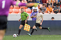 Houston, TX - Friday December 11, 2016: Luis Argudo (2) of the Wake Forest Demon Deacons brings the ball down the field against the Stanford Cardinal at the NCAA Men's Soccer Finals at BBVA Compass Stadium in Houston Texas.