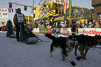 March 3, 2007  Zach Steer leaves the start line during the Iditarod ceremonial start day in Anchorage