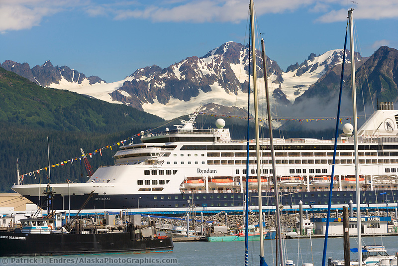 Holland America cruise liner Rynadaam in the Seward municipal boat Harbor, Seward, Alaska.