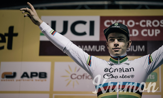 after a few weeks off (training in Spain) this is a sweet (and strong) victory for CX world champion Wout Van Aert (BEL/Crelan-Charles) in a season dominated by rival Mathieu van der Poel (finishing 3rd today). <br /> <br /> Elite Men's race<br /> UCI CX World Cup Namur / Belgium 2017