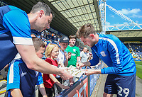 Preston North End's Tom Barkhuizen signs an autograph before the match<br /> <br /> Photographer Alex Dodd/CameraSport<br /> <br /> The EFL Sky Bet Championship - Preston North End v Burton Albion - Sunday 6th May 2018 - Deepdale Stadium - Preston<br /> <br /> World Copyright &copy; 2018 CameraSport. All rights reserved. 43 Linden Ave. Countesthorpe. Leicester. England. LE8 5PG - Tel: +44 (0) 116 277 4147 - admin@camerasport.com - www.camerasport.com