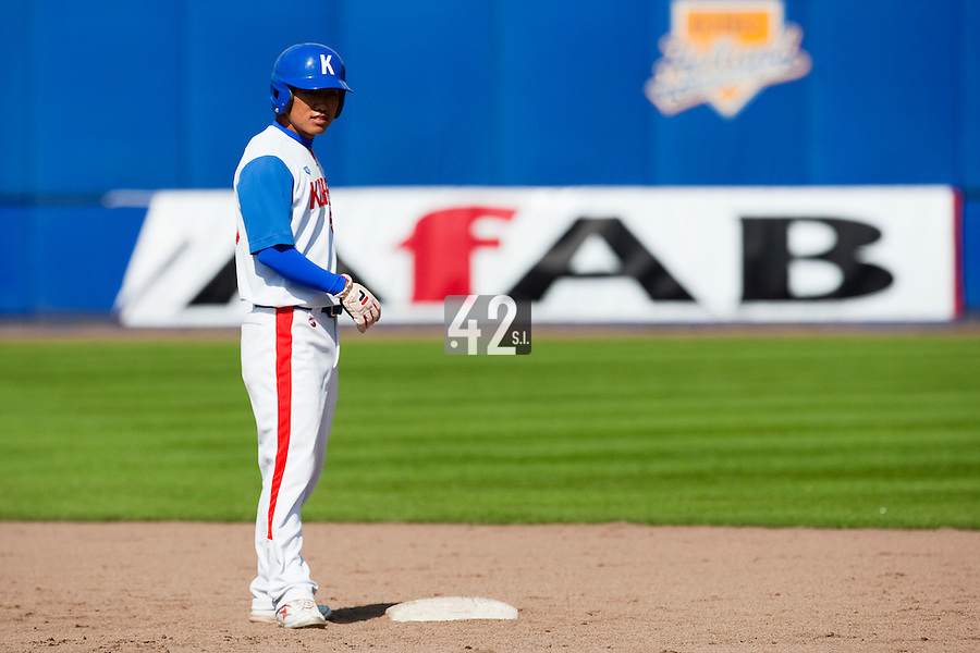 14 September 2009: Bon-Ki Shin of South Korea is seen at second base on offense during the 2009 Baseball World Cup Group F second round match game won 15-5 by South Korea over Great Britain, in the Dutch city of Amsterdan, Netherlands.