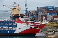 TANZANIA, Zanzibar, Stone town, container seaport and Azam Sealink passenger car ferry to mainland