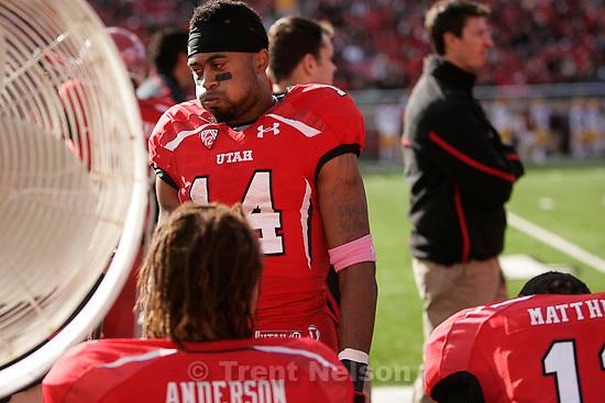 Trent Nelson     The Salt Lake Tribune.Utah receiver Reggie Dunn on the sideline after a second half fumble, Utah vs. Arizona State, college football at Rice-Eccles Stadium in Salt Lake City, Utah, Saturday, October 8, 2011.