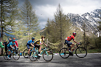 GC contenders with Vincenzo Nibali (ITA/Bahrain-Merida), Primoz Roglic (SVK/Jumbo-Visma), Mikel Landa (ESP/Movistar) & Miguel Angel Lopez (COL/Astana) up the Colle San Carlo (Cat1/1921m/10.1km/9.8%)<br /> <br /> Stage 14: Saint Vincent to Courmayeur/Skyway Monte Bianco (131km)<br /> 102nd Giro d'Italia 2019<br /> <br /> ©kramon