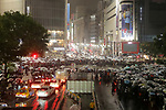People gather to celebrate the change of the era at Shibuya shopping<br /> district after midnight in Tokyo, Japan on May 1, 2019, the first day of<br /> the Reiwa Era. (Photo by Yohei Osada/AFLO)