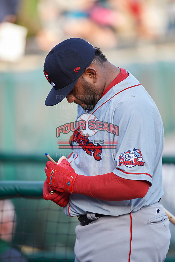 Boston Red Sox Pablo Sandoval (41) signs autographs before a game while on rehab assignment with the Pawtucket Red Sox during a game against the Buffalo Bisons on May 19, 2017 at Coca-Cola Field in Buffalo, New York.  Buffalo defeated Pawtucket 7-5 in thirteen innings.  (Mike Janes/Four Seam Images)