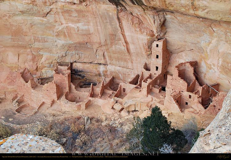 Square Tower House Cliff Dwelling, Anasazi Hisatsinom Ancestral Pueblo Site, Navajo Canyon, Mesa Verde National Park, Colorado
