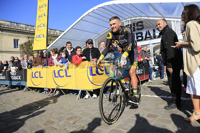 Adrien Petit (FRA) Direct Energie at sign on for the 115th edition of the Paris-Roubaix 2017 race running 257km Compiegne to Roubaix, France. 9th April 2017.<br /> Picture: Eoin Clarke   Cyclefile<br /> <br /> <br /> All photos usage must carry mandatory copyright credit (&copy; Cyclefile   Eoin Clarke)