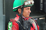August 29, 2015. Elvis Trujillo awaits the result of an inquiry after winning race 7 on Freestyler. Undercard races and scenes around the track on Smarty Jones Stakes Day at  Parx Racing in Bensalem, PA.  (Joan Fairman Kanes/ESW/CSM)
