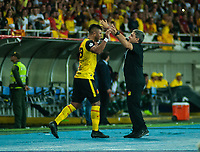 PEREIRA - COLOMBIA, 10-06-2019: Jairo Molina del Pereira celebra después de anotar el primer gol de su equipo durante partido entre Deportivo Pereira y Cortuluá por la final vuelta del Torneo Águila 2019 I jugado en el estadio Hernán Ramírez Villegas de la ciudad de Pereira. / Jairo Molina of Pereira celebrates after scoring the first goal of his team during second leg final match between Deportivo Pereira and Cotulua for the Aguila Tournament 2019 I played at the Hernan Ramirez Villegas stadium in Pereira city.  Photo: VizzorImage/ Juan Torres / Cont