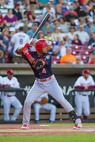 Peoria Chiefs infielder Leobaldo Pina (4) at bat during a Midwest League game against the Wisconsin Timber Rattlers on July 9, 2016 at Fox Cities Stadium in Appleton, Wisconsin. Peoria defeated Wisconsin 3-2. (Brad Krause/Four Seam Images)